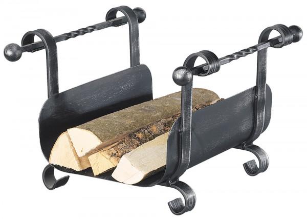 Holzkorb HARMONY-2 aus Schmiedeeisen, schwarz antik