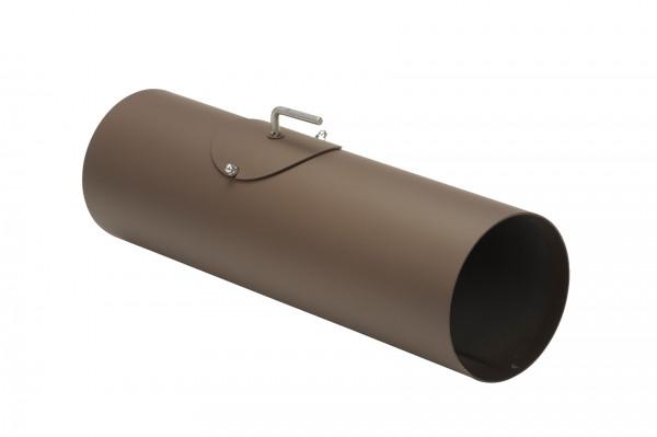 Rauchrohr Stahl 500 mm Ø 150 mm braun mit Tür, Drosselklappe, Kondensring
