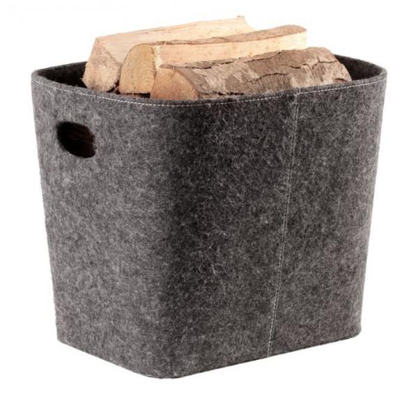 Holzkorb aus Filz, grau