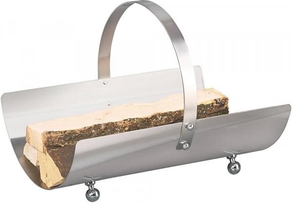 Holzkorb ROLLO-1 aus Edelstahl mit Tragegriff