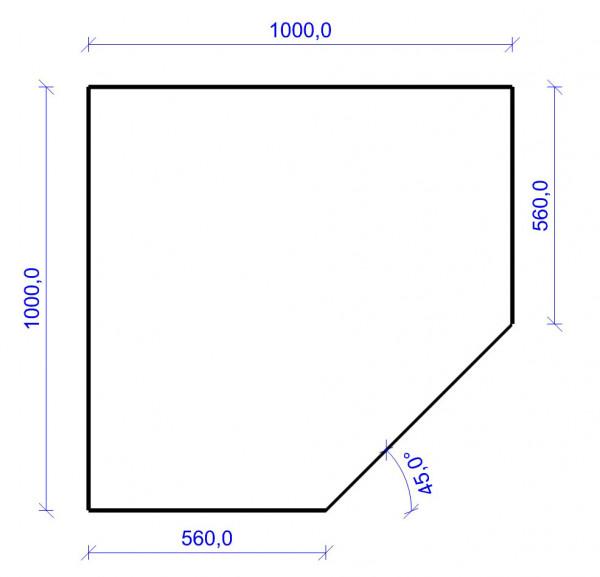 Kamin Bodenplatte, 6 mm ESG-Klarglas, Fünfeck 1000 x 1000 mm