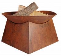 Feuerschale mit Sockel, rostig, 33 x 57 x 57 cm - SMFF149