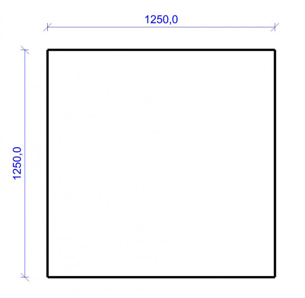 Kamin Bodenplatte, 2 mm Stahl, Quadrat 1250 x 1250 mm, hellgrau