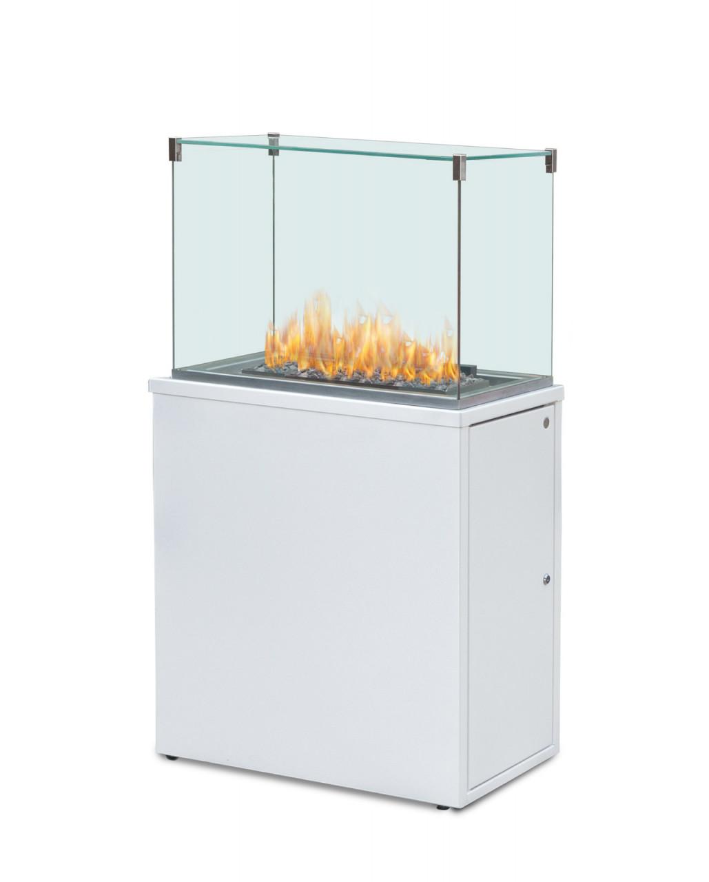 """*NEU*: Terrassenkamin """"Fuora Q-XL"""" aus Glas und Aluminium, weiß"""