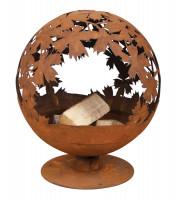 Feuerschale Rost Kugel, 56 x 58 x 65 cm, Feuerball Blätter - SMFF293